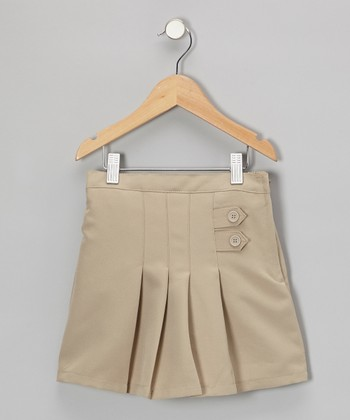 Khaki Button-Front Pleated Skirt - Girls