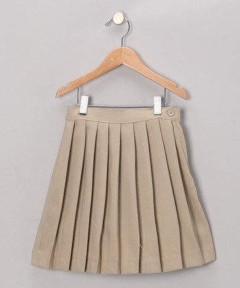 Khaki Pleated Skirt - Girls