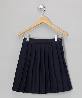 Navy Pleated Skirt - Girls