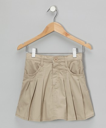 Khaki Box Pleated Skirt - Girls