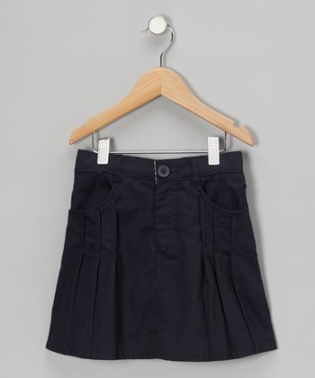 Navy Box Pleated Skirt - Girls