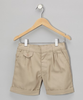Khaki Cuffed Shorts - Girls