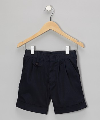 Navy Cuffed Shorts - Girls