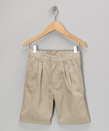 Khaki Pleated Shorts - Boys