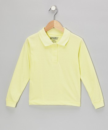 Yellow Scallop Collar Polo - Girls