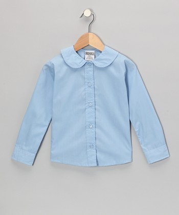 Light Blue Peter Pan Long-Sleeve Button-Up - Girls