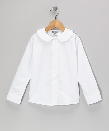 White Peter Pan Long-Sleeve Button-Up - Girls