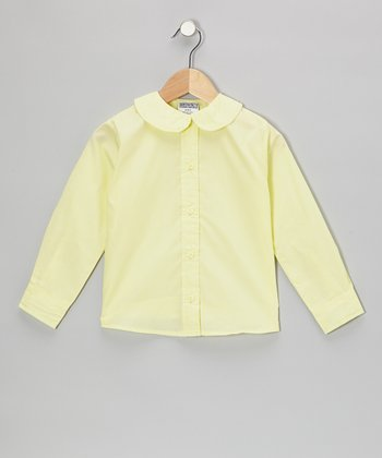 Yellow Peter Pan Long-Sleeve Button-Up - Girls