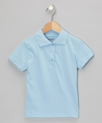 Light Blue Scallop Collar Short-Sleeve Polo - Girls