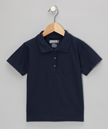 Navy Scallop Collar Short-Sleeve Polo - Girls