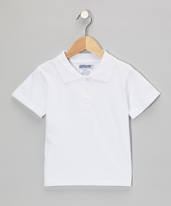 White Scallop Collar Short-Sleeve Polo - Girls