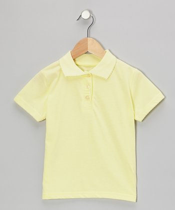 Yellow Scallop Collar Short-Sleeve Polo - Girls