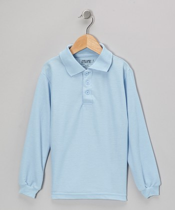 Light Blue Button Long-Sleeve Polo - Boys