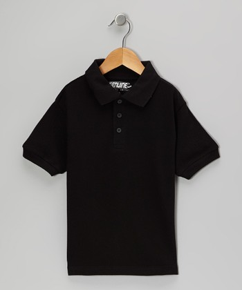 Black Short-Sleeve Polo - Boys