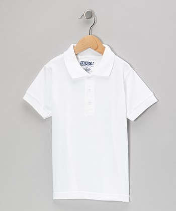 White Short-Sleeve Polo - Boys