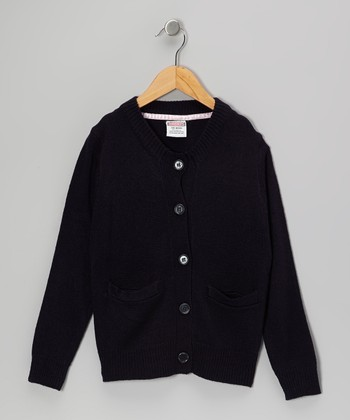 Navy Banded Collar Cardigan - Girls