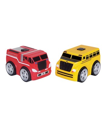 Fire Engine & School Bus Ratchet Racer Set