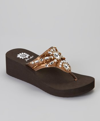 Bronze Delta Wedge Sandal