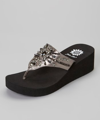 Pewter Delta Wedge Sandal