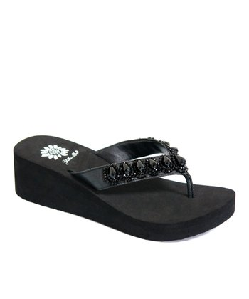 Black Cordelia Wedge Sandal