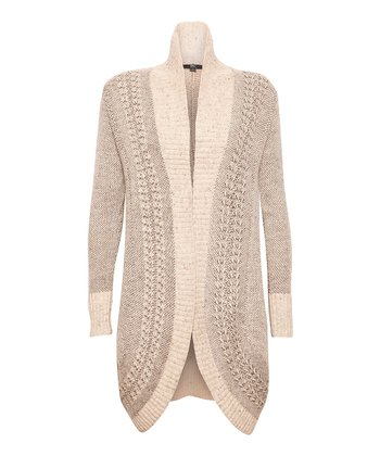 Sand Marled Sheffield Wrap Merino Wool Jacket - Women