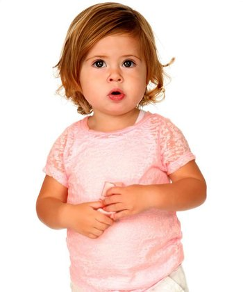 Pink Semi-Sheer Twisted Burnout Tee - Toddler & Girls