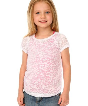 White Semi-Sheer Twisted Burnout Tee - Toddler & Girls