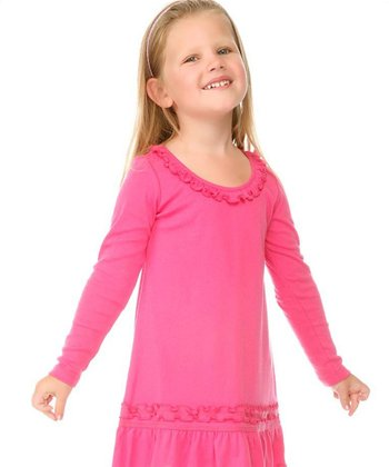 Hot Pink Sunflower Dress - Toddler & Girls