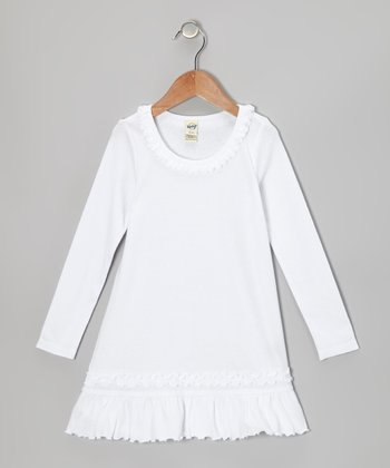 White Sunflower Dress - Toddler & Girls