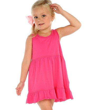 Hot Pink Ruffle Raw-Edge Dress - Infant