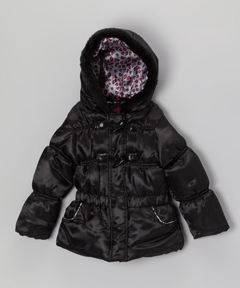 Black Leopard Shiny Puffer Jacket - Toddler & Girls