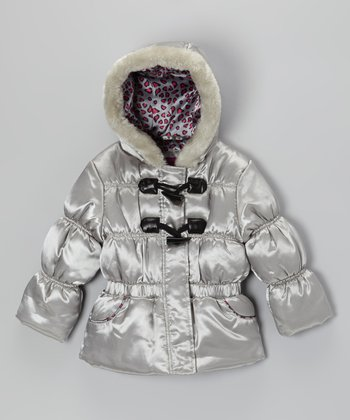 Silver Leopard Shiny Puffer Jacket - Toddler & Girls