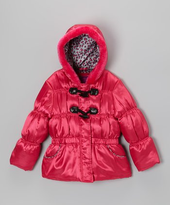 Fuchsia Leopard Shiny Puffer Jacket - Toddler & Girls