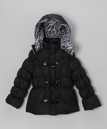 Black Zebra Puffer Jacket - Toddler & Girls