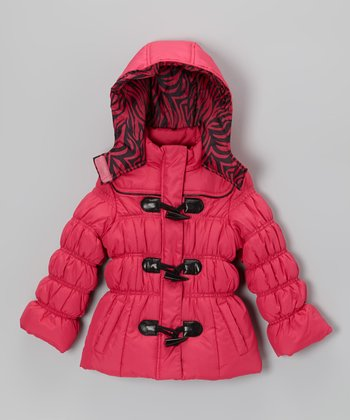 Fuchsia Zebra Puffer Jacket - Toddler & Girls
