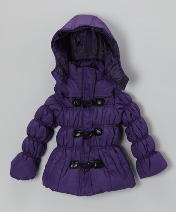Purple Zebra Puffer Jacket - Toddler & Girls