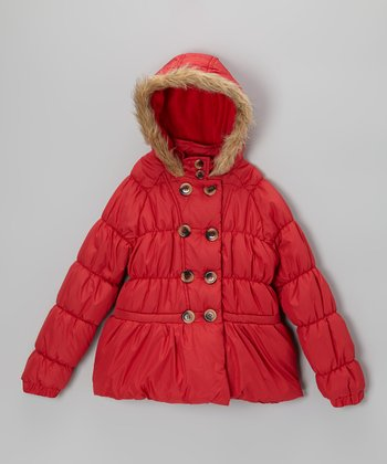 Red Puffer Jacket - Girls
