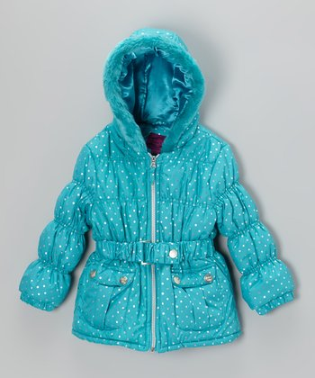 Seaport & Gold Polka Dot Puffer Jacket - Toddler & Girls