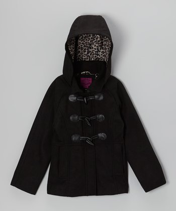 Velvet Chic Black Leopard Toggle Coat - Girls