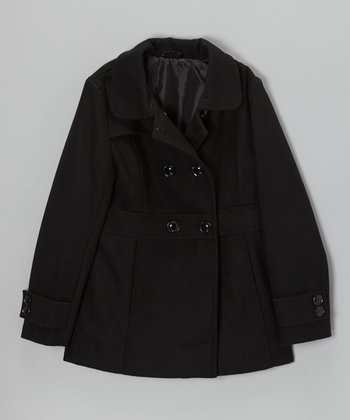 Velvet Chic Black Double-Breasted Peacoat - Girls