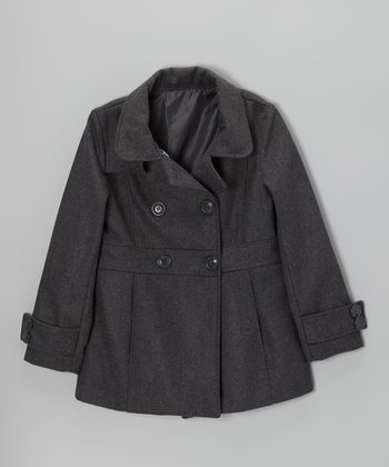Velvet Chic Gray Double-Breasted Peacoat - Girls
