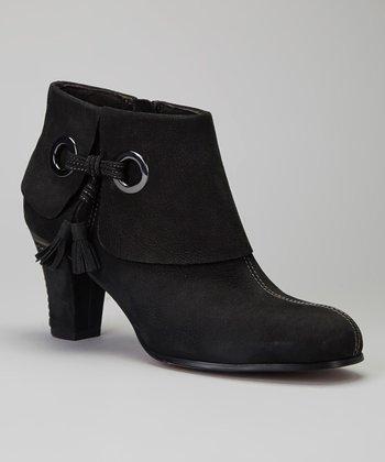 Antia Shoes Black Nubuck Marissa Bootie