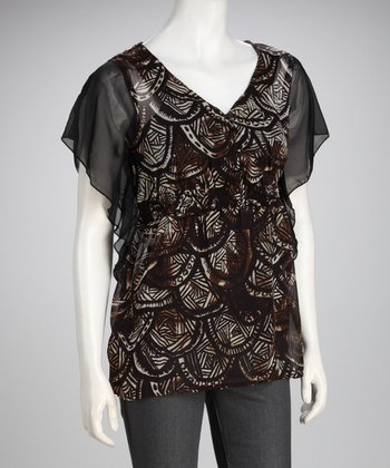 Claudia Richard Brown & Black Shirred Top