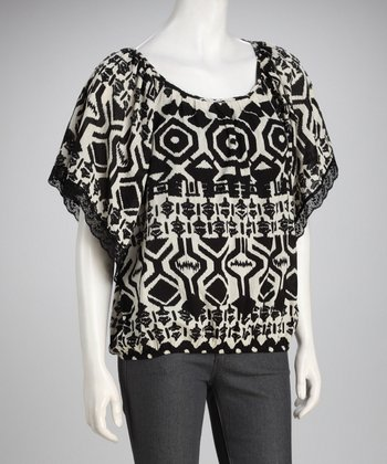 Claudia Richard Black & Ivory Lace Top