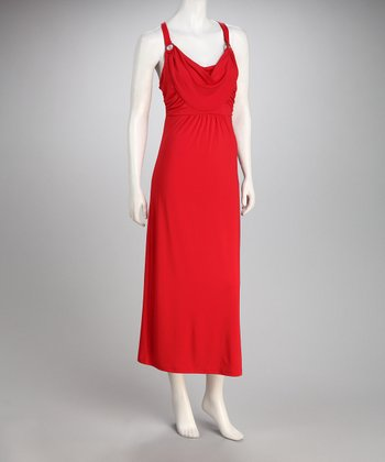 Claudia Richard Tomato Drape Neck Dress