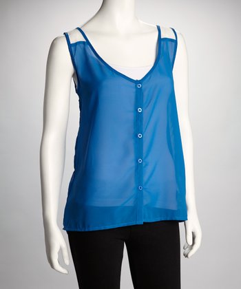 Royal Blue & White Sheer Color Block Tank - Women