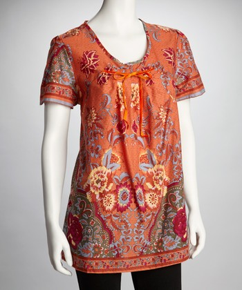 Orange & Yellow Floral-Print Short-Sleeve Tunic