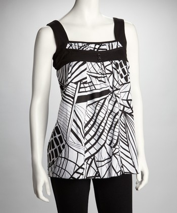 Black & White Geometric-Print Tank