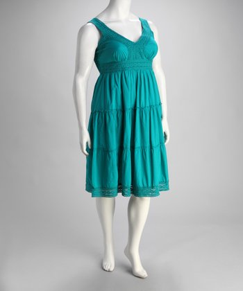 Jade Lace Trim Plus-Size Dress
