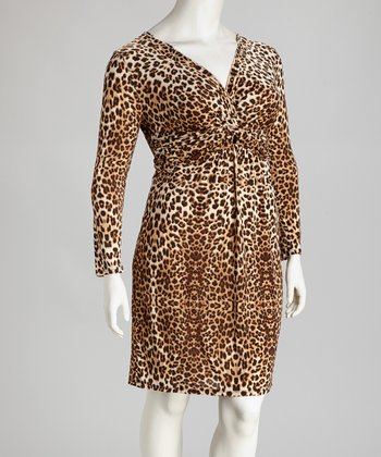Brown Leopard Plus-Size V-Neck Dress
